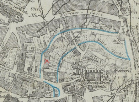 Ausschnitt aus dem Freiberger Stadtplan von 1855